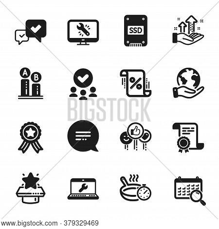 Set Of Technology Icons, Such As Analysis Graph, Loan Percent. Certificate, Approved Group, Save Pla