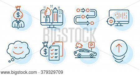 Accounting Wealth, Manager And Swipe Up Signs. Methodology, Seo And Creative Design Line Icons Set.