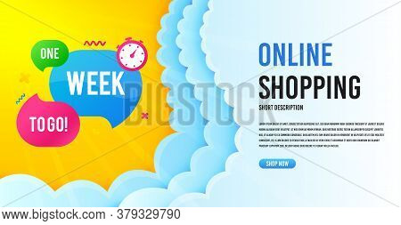 One Week Offer Bubble. Clouds Banner Template. Discount Banner Shape. Special Offer Icon. Online Sho
