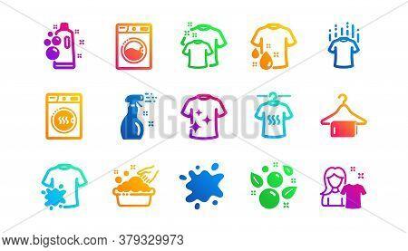 Dryer, Washing Machine And Dirt Shirt. Laundry Icons. Laundromat, Hand Washing, Laundry Service Icon