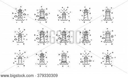 Searchlight Tower With Seagull For Marine Navigation Of Ships. Lighthouse Line Icons. Sea Pharos, Li
