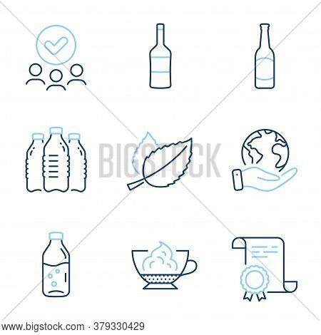 Espresso Cream, Wine And Mint Leaves Line Icons Set. Diploma Certificate, Save Planet, Group Of Peop