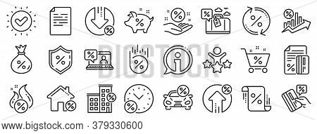 Set Of Investment, Interest Rate And Percentage Diagram Linear Icons. Loan Line Icons. Car Leasing,