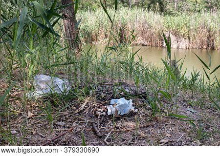 Heaps Of Dirty Garbage Rubbish In Nature, Pollution, Plastic.