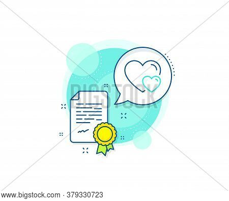 Two Hearts Sign. Certification Complex Icon. Couple Love Line Icon. Valentines Day Symbol. Certifica