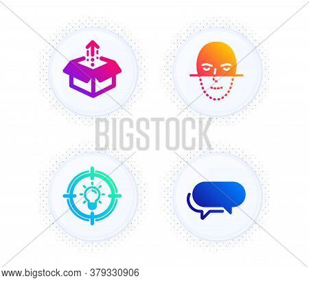 Idea, Face Recognition And Send Box Icons Simple Set. Button With Halftone Dots. Messenger Sign. Sol