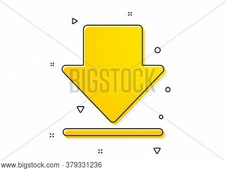 Internet Downloading Sign. Download Icon. Load File Symbol. Yellow Circles Pattern. Classic Download
