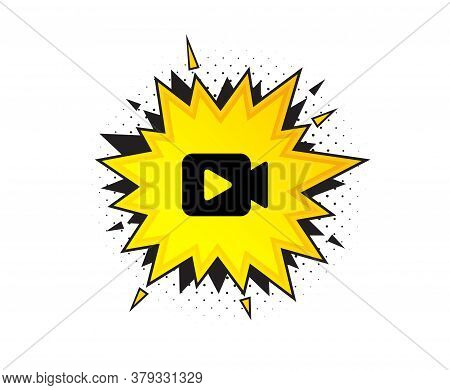 Video Camera Icon. Quote Speech Bubble. Movie Or Cinema Sign. Multimedia Symbol. Quotation Marks. Cl