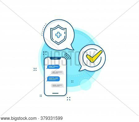 Medical Protection Sign. Phone Messages Complex Icon. Medicine Shield Line Icon. Messenger Chat Scre