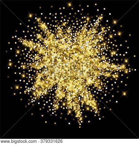 Sparkling Gold Luxury Sparkling Confetti. Scattered Small Gold Particles On Black Background. Admira