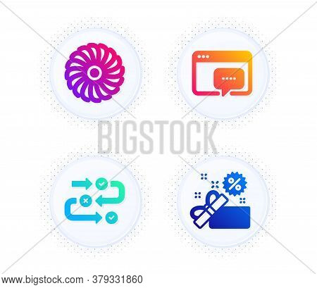 Seo Message, Survey Progress And Fan Engine Icons Simple Set. Button With Halftone Dots. Sale Sign.