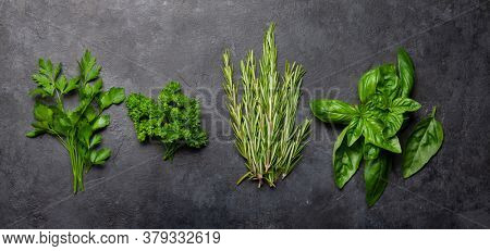 Various garden herbs on stone table. Top view flat lay