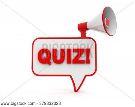Loudspeaker With Speech Bubble In White Background. Quiz Symbol. Megaphone Banner. Answer Question S