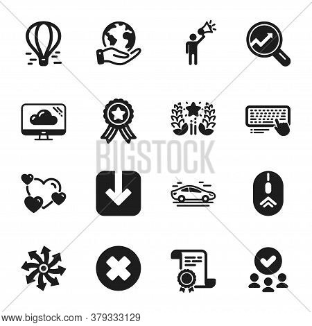 Set Of Technology Icons, Such As Versatile, Analytics. Certificate, Approved Group, Save Planet. Bra