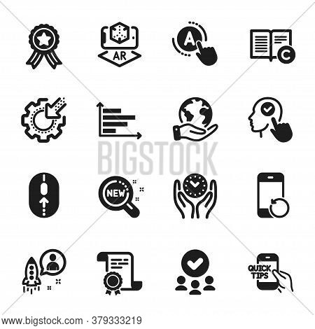 Set Of Science Icons, Such As Horizontal Chart, Education. Certificate, Approved Group, Save Planet.