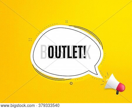 Outlet Symbol. Megaphone Banner With Chat Bubble. Special Offer Price Sign. Advertising Discounts. L