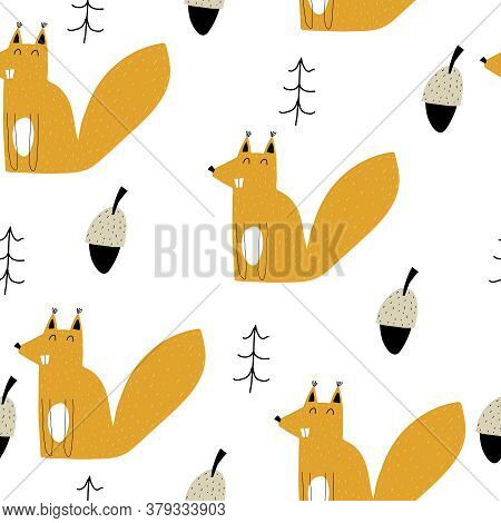 Seamless Pattern With Cartoon Squirrels, Acorn, Trees. Forest, Vector Flat Scandinavian Style. Anima