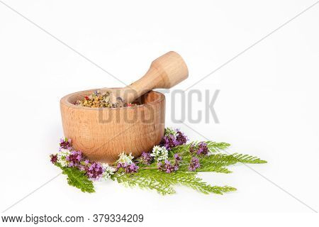 Herbs In Porcelain Mortar On White Background. Herbs In A Mortar. Flowers With Thyme