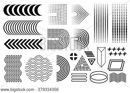 Vector Memphis Set, Black 90's Memphis Collection, Isolated Design Elements, Half Circles Row, Linea