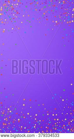 Festive Classy Confetti. Celebration Stars. Colorful Confetti On Violet Background. Fetching Festive