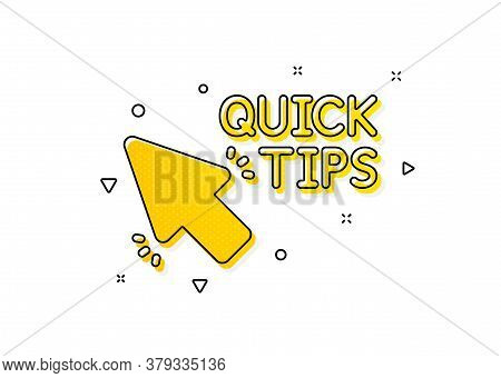 Helpful Tricks Sign. Quick Tips Click Icon. Yellow Circles Pattern. Classic Quick Tips Icon. Geometr