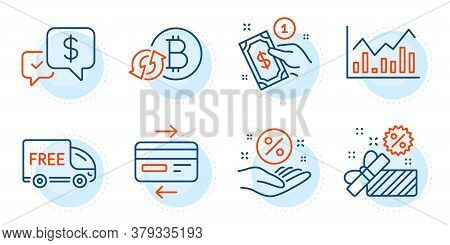 Credit Card, Refresh Bitcoin And Sale Signs. Payment Method, Loan Percent And Infochart Line Icons S