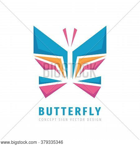 Butterfly Logo Concept Desin. Abstract Geometric Wings Vector Logo Sign Illustration.
