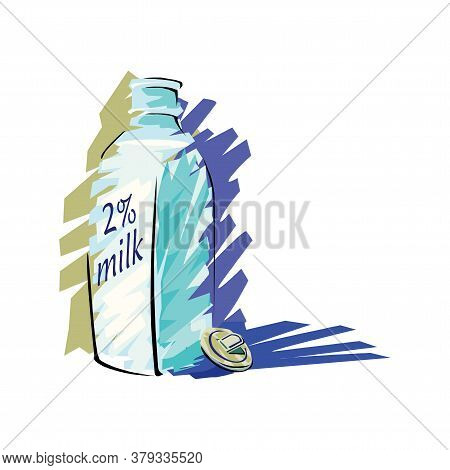 Glass Of Milk With Gable Top Package Close Up. Cow Milk Carton And Cup Isolated On White Background.