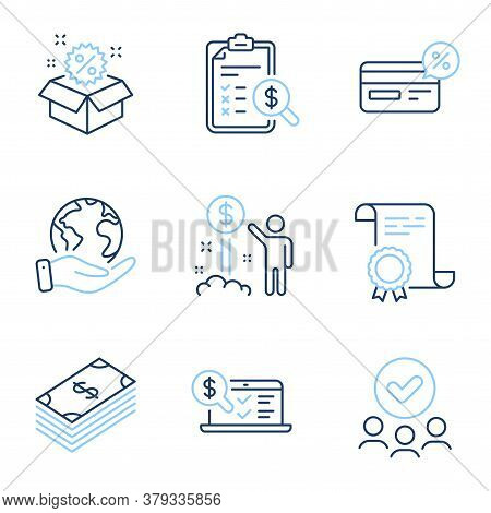 Online Accounting, Income Money And Cashback Line Icons Set. Diploma Certificate, Save Planet, Group