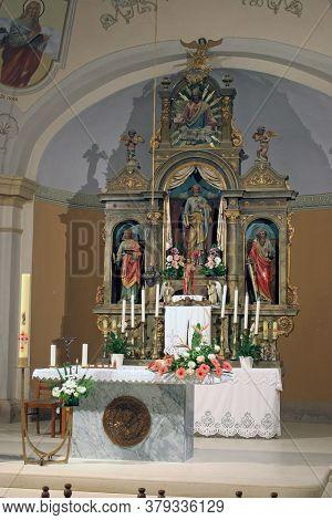 SVETI PETAR OREHOVEC, CROATIA - JUNE 26, 2013: Main altar in Sveti Petar church in Sveti Petar Orehovec, Croatia