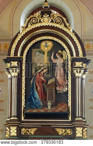 VELIKA GORICA, CROATIA - SEPTEMBER 28, 2012: Main altar to the Church of the Annunciation of the Virgin Mary in Velika Gorica, Croatia