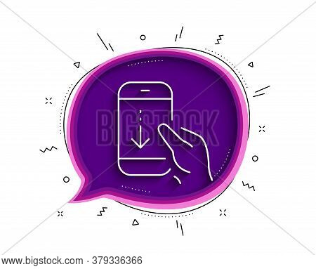 Scroll Down Phone Line Icon. Chat Bubble With Shadow. Scrolling Screen Sign. Swipe Page. Thin Line S
