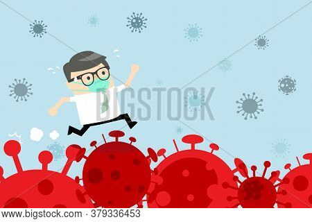 Businessman Running Over The Corona Virus. Stock Market Panic Sell From Novel Corona Virus. Business