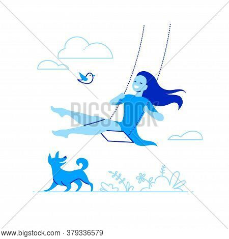 Vector Illustration With Young Smiling Girl Swing On A Swing On Nature With Clouds And Grass, Happy