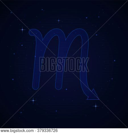 Scorpius, The Scorpion Zodiac Sign On The Starry Night Sky