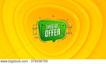 Special Offer Badge. Geometric Plastic Design Banner. Discount Banner Shape. Sale Coupon Bubble Icon