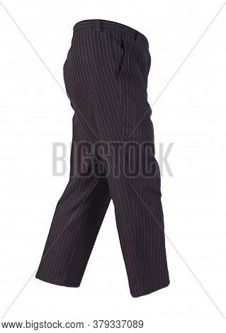 Women Black White Striped Trousers Isolated On White Background.womens Casual Wear