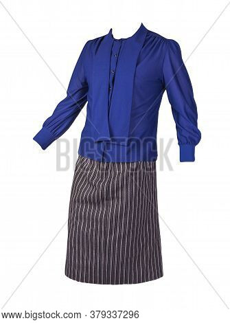 Womens Long Black White Striped Skirt And Dark Blue Blouse Isolated On White Background.comfortable