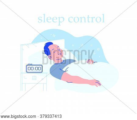 Young Man Sleeping In Cozy Bed With Alarm Clock On On Night Table. Sleep Time And Sleep Mode Control