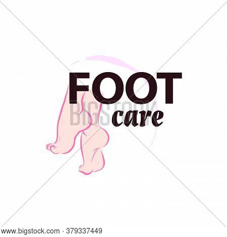 Foot Care Logo Design With Pair Of Bare Woman Feet Arranged Together Isolated On White Background. F