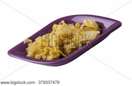 Braised Cabbage In Red Brown Plate Isolated On White Background. Braised Cabbage Top Side View .heal