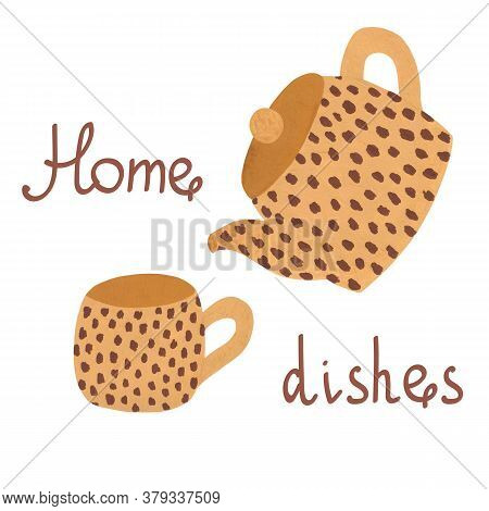 Home Dishes With Hand Drawn Leopard Print And Lettering On Wite Background