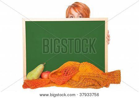 woman with chalkboard