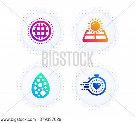 Artificial Colors, Sun Energy And Globe Icons Simple Set. Button With Halftone Dots. Timer Sign. Nat