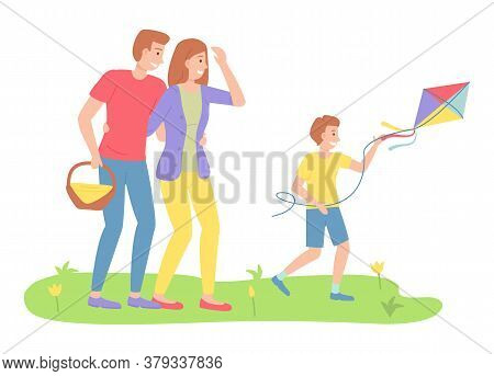 Family Outdoor Recreational Activities, Happy Parents Looking At Son With Flying Kite, Mother, Fathe