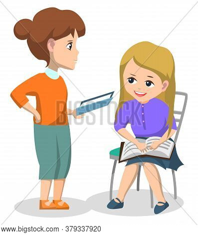 Book Club For Pupils After Lessons. Schoolgirl Sitting On Chair Near Teacher Woman And They Read Tog