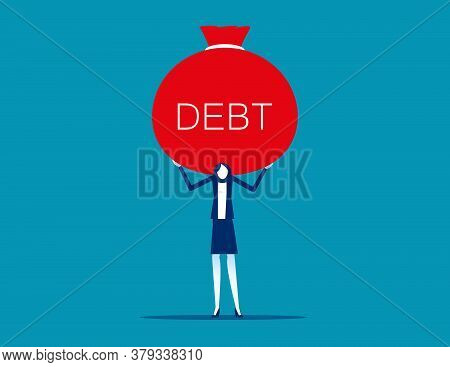 A Load Of Debt On Back. Business Financial Loan And Arrears Concept. Flat Cartoon Vector Illustratio