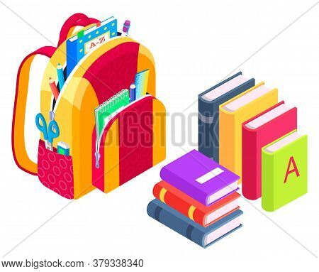 Satchel Packed For Lessons Vector, Isolated Backpack With Items For Classes, Back To School Concept.