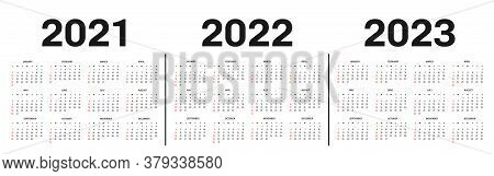 Calendar 2021, 2022 And 2023 Template. Calendar Template In Black And White Colors, Holidays In Red