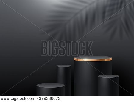 Black Cylinder Podium For Product Presentation. Podium Stage On A Wall Background With A Palm Tree B